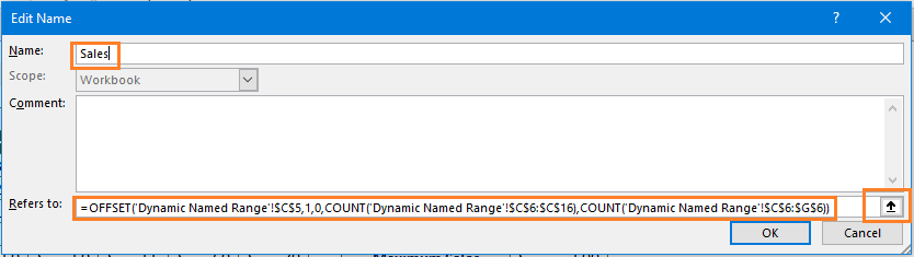 OFFSET Dynamic Range for Sales