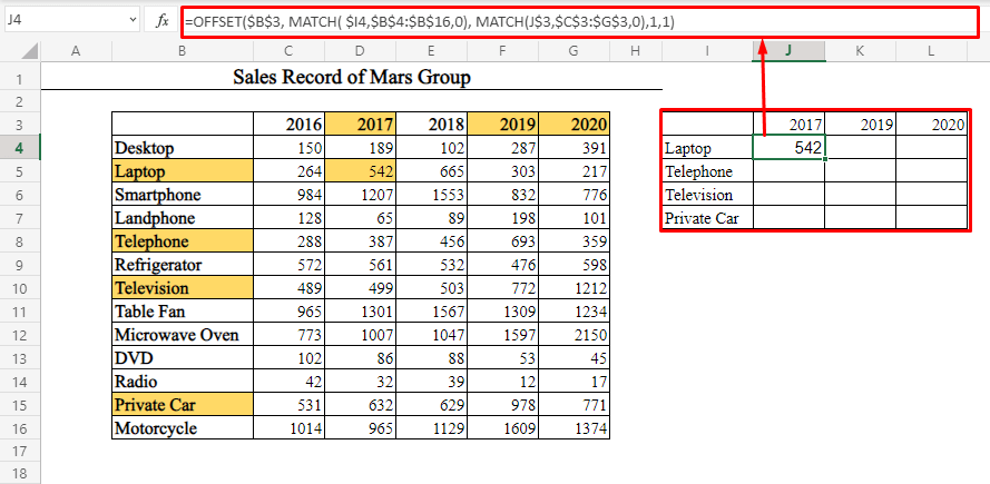 OFFSET-MATCH for Non-Adjacent Multiple Rows and Columns