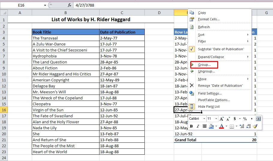 Pivot Table in options in Excel