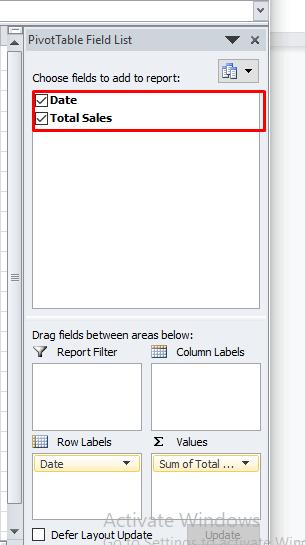 PivotTable Fields in Excel