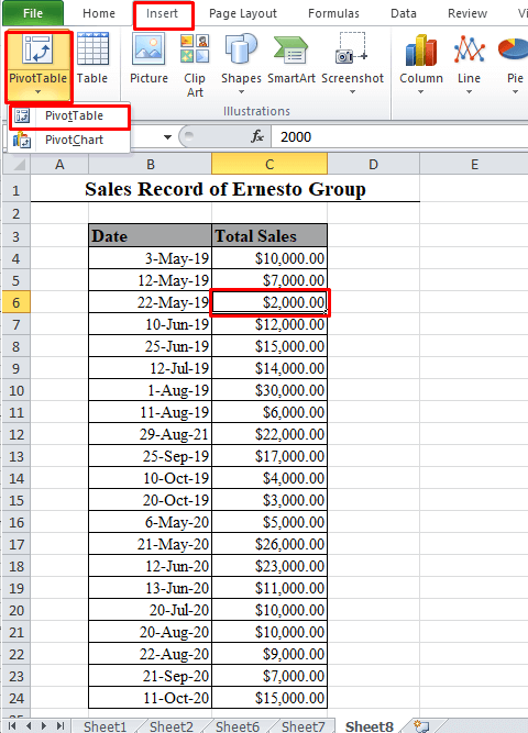 PivotTable in Excel