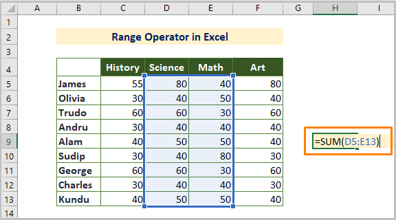 Range Reference Operator in Excel