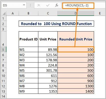Round to nearest 100 Using ROUND Function