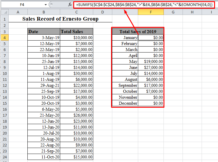 SUMIFS by month formula in Excel