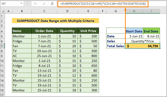 SUMPRODUCT Date Range with Multiple Criteria
