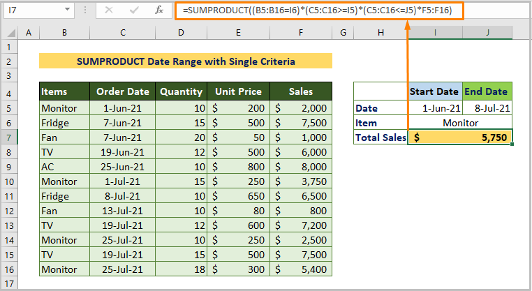 SUMPRODUCT Date Range with Single Criteria