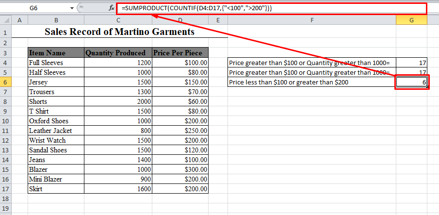 SUMPRODUCT and COUNTIF function in Excel
