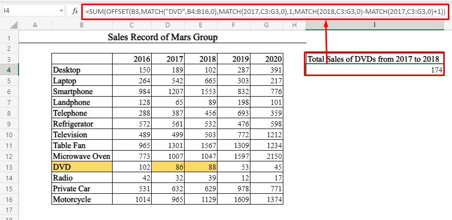 Single Row Sum Using OFFSET-MATCH