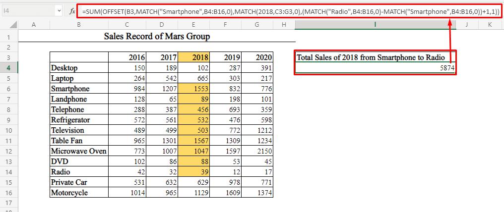 Single Column Sum by Using OFFSET-MATCH