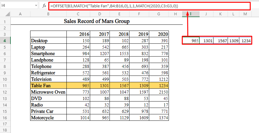 Single Row Data by Using OFFSET-MATCH