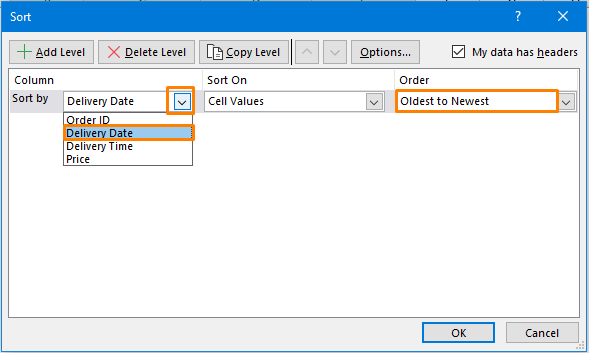 Sort by Date and Time Using Custom Sort Option