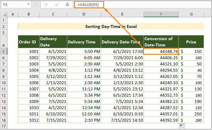 Sorting Date-Time in Excel
