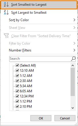 Sorting Using Direct Drop-Down option