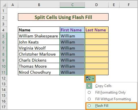Split Cells Using Flash Fill