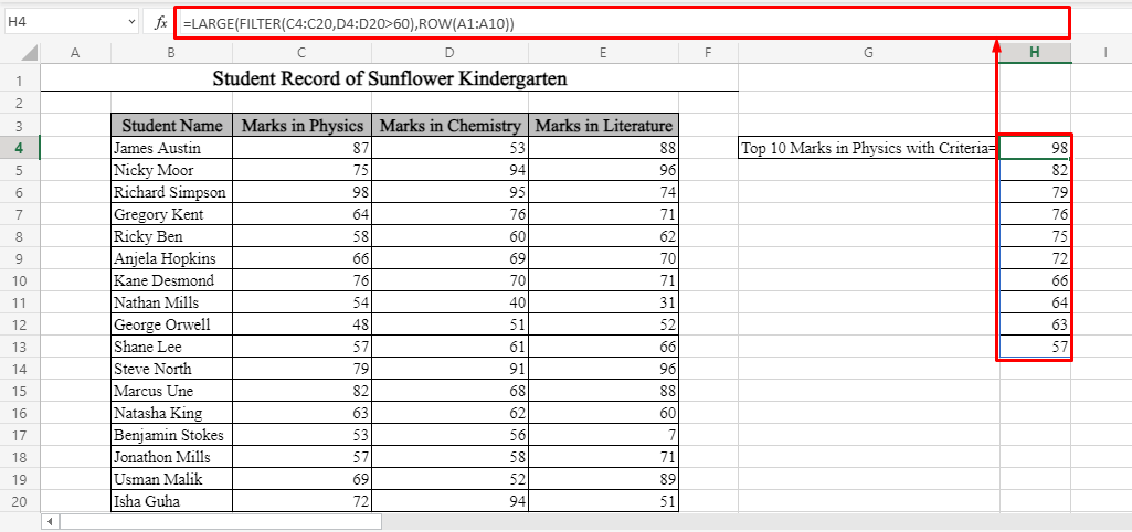 Top 10 Values Based on Single Criterion Using FILTER Function