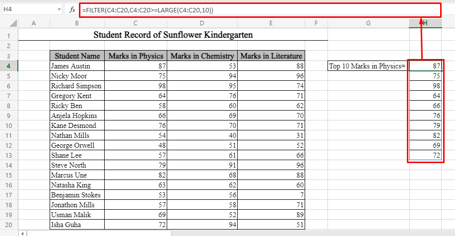 Top 10 Values Using FILTER Function