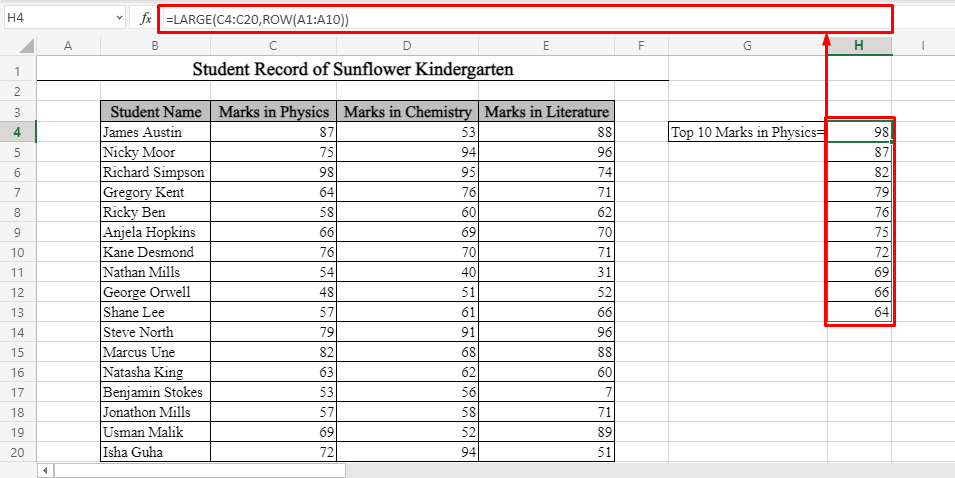Top 10 Values Using LARGE and ROW in Excel