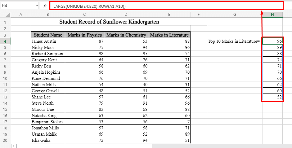 Top 10 Values with Duplicates in Excel