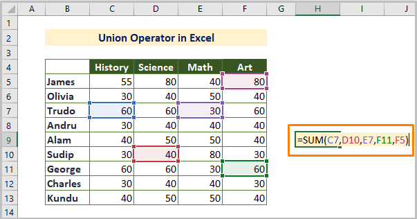 Union Reference Operator in Excel