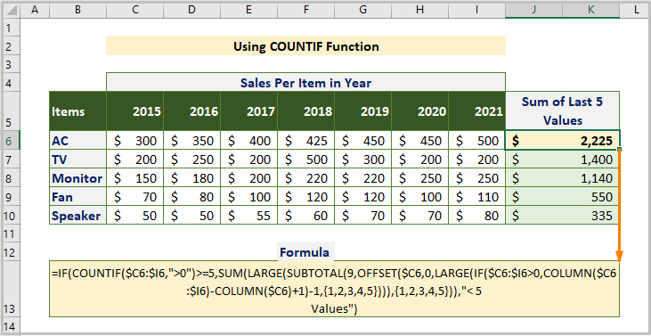 Using COUNTIF Function