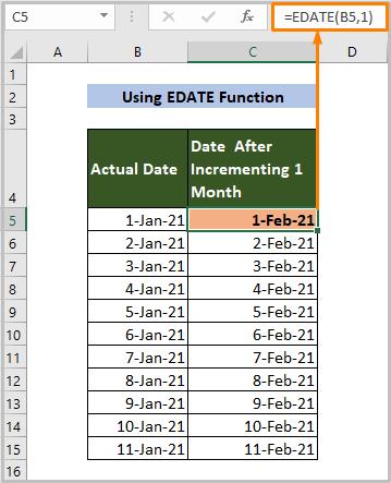 Using EDATE Function