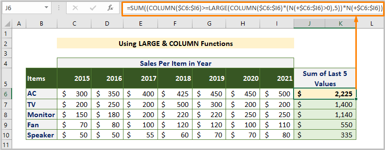 Using LARGE & COLUMN Functions