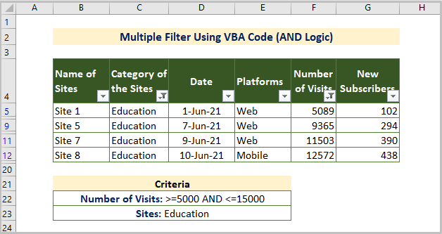 VBA AND Operator for Multiple Filters