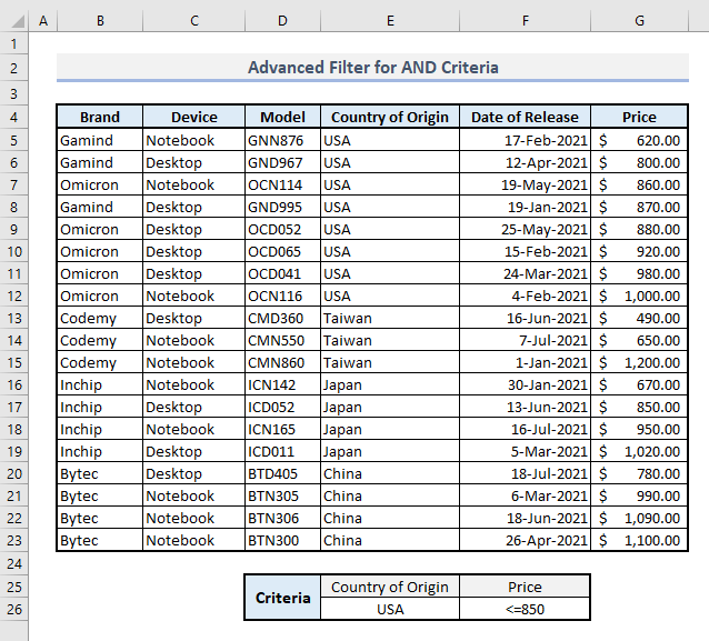 advanced filter and logic criteria in excel