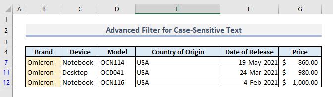 advanced filter case sensitive criteria in excel