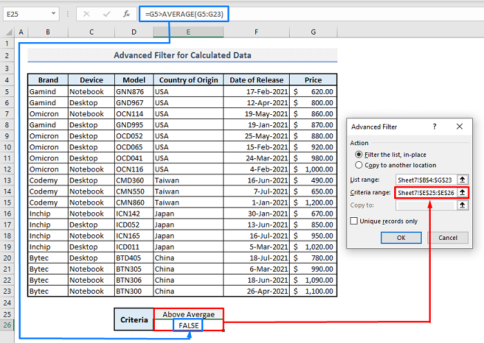 advanced filter for calculated data in excel