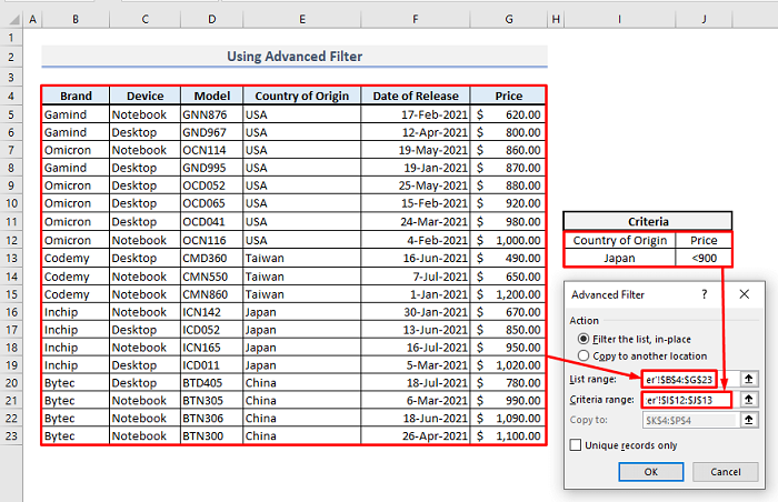 advanced filter multiple rows
