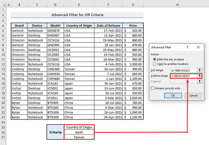 advanced filter or logic criteria in excel