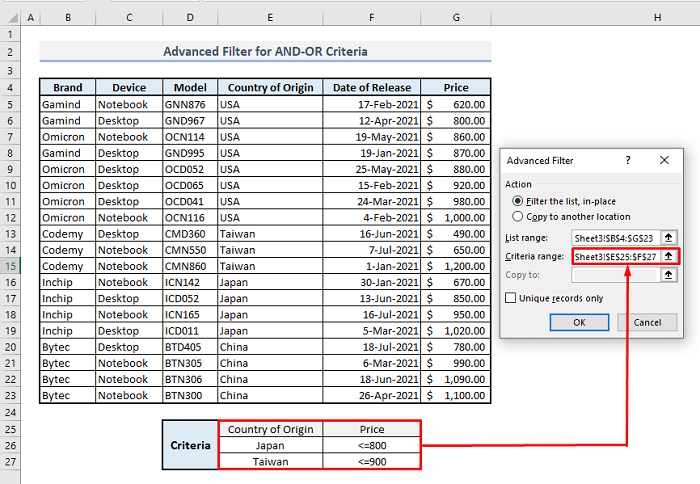 advanced filter and or logic criteria in excel