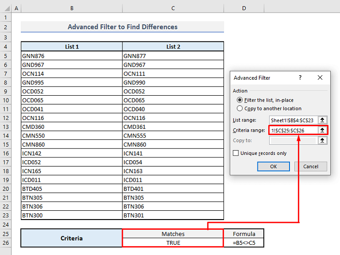 advanced filter to find differences along rows in excel