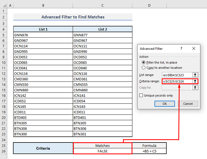 advanced filter to find matches in same rows in excel