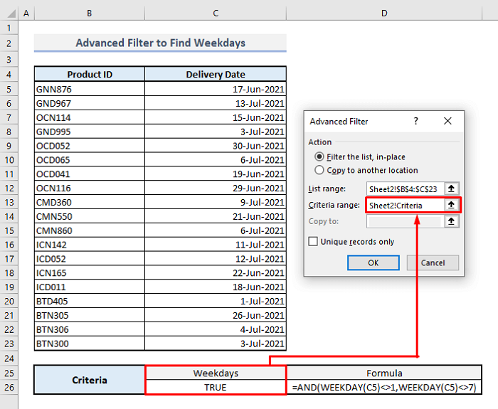 advanced filter to find weekdays in excel