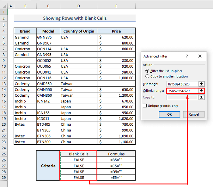 advanced filter to show rows with blank cells in excel