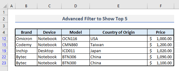 advanced filter to show top 5 in excel