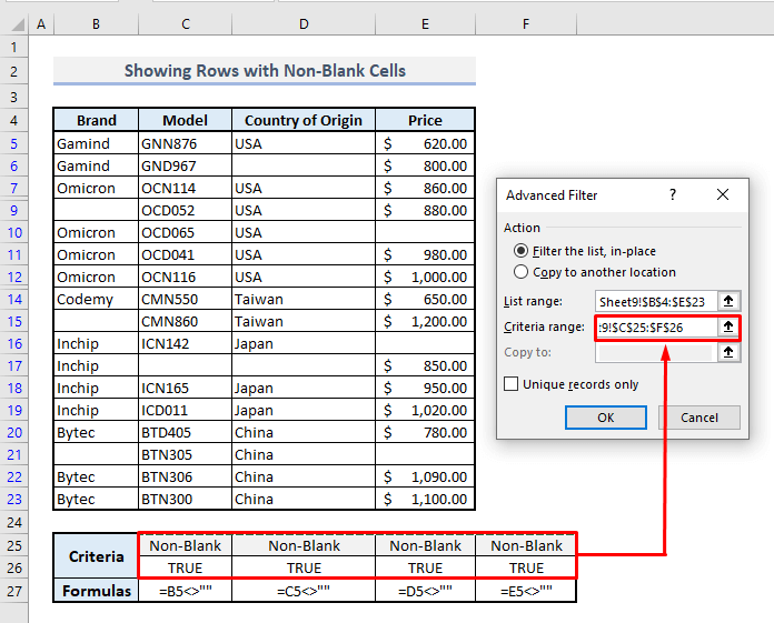 advanced filter to show rows with non blank cells in excel