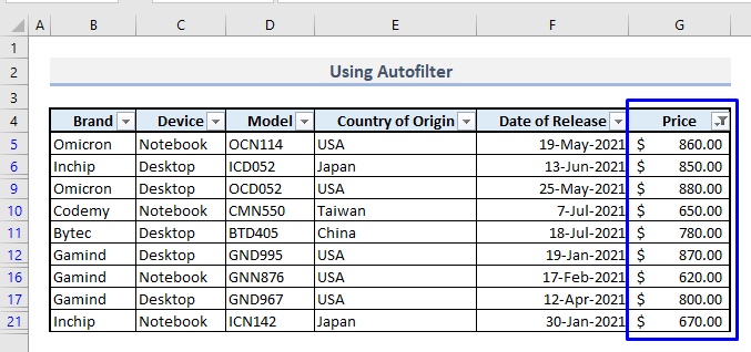 autofilter to filter multiple rows in excel