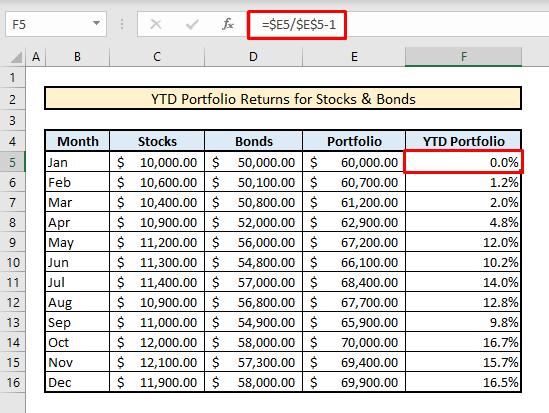 calculate yrd portfolio returns for stocks and bonds