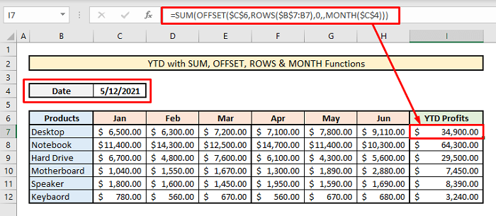 calculate ytd with sum offset rows month functions