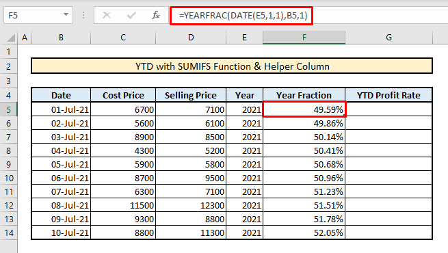 calculate ytd with sumifs functions and helper column