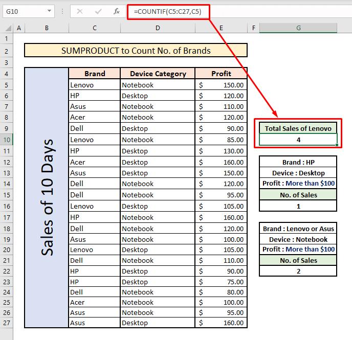 count unique values with sumproduct alternative countif single criteria