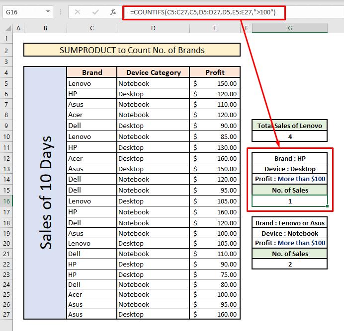 count unique values with sumproduct alternative countifs multiple criteria