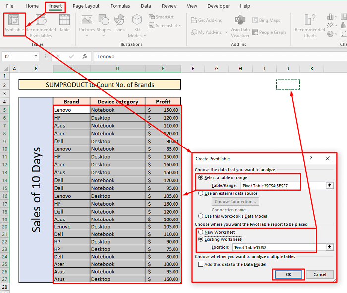 count unique values with sumproduct pivot table multiple criteria