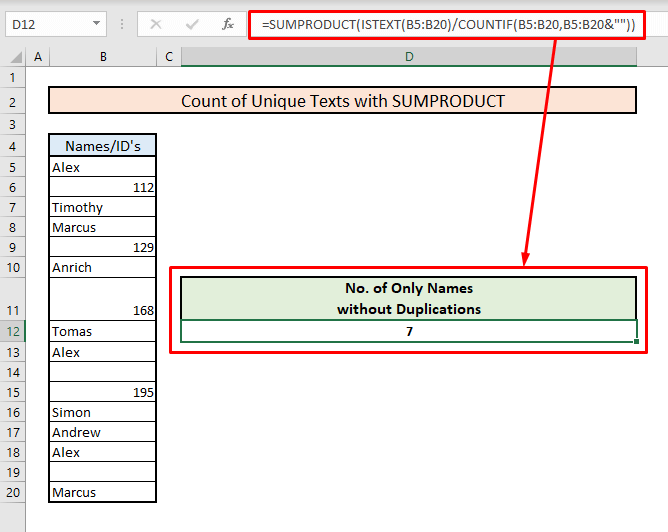 count unique texts with sumproduct