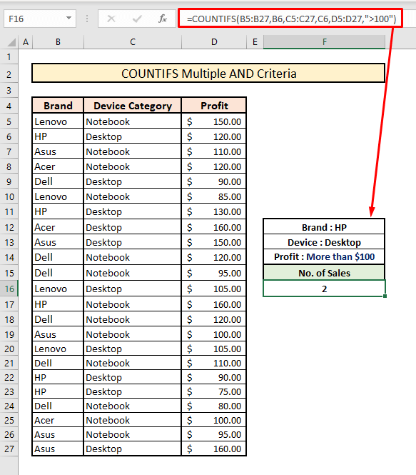 countifs to count across multiple columns AND criteria logic
