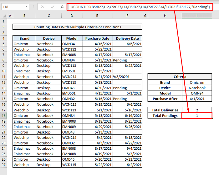 countif to count date range with multiple criteria or conditions in excel