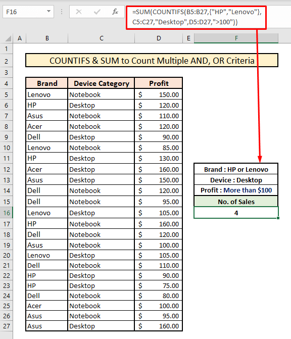 sum countifs to count across multiple columns with AND OR criteria logic